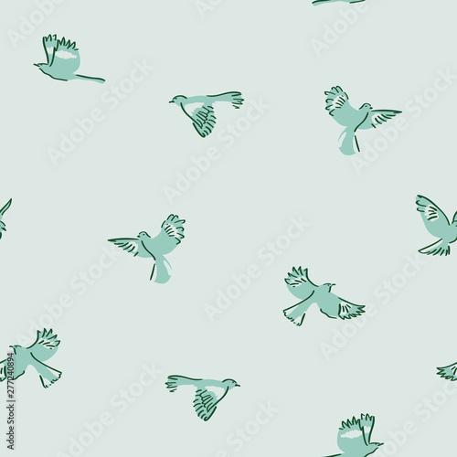 Cuadros en Lienzo Green mockingbird Seamless Pattern