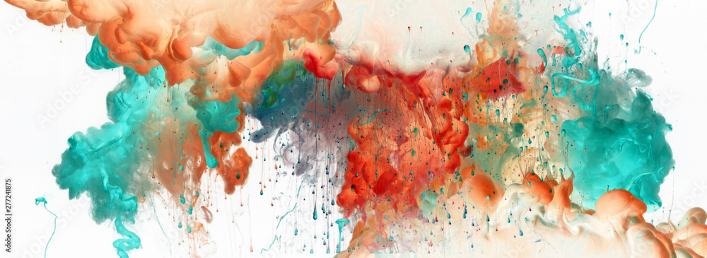 Fototapety, obrazy: Acrylic blue and red colors in water. Ink blot. Abstract  background.