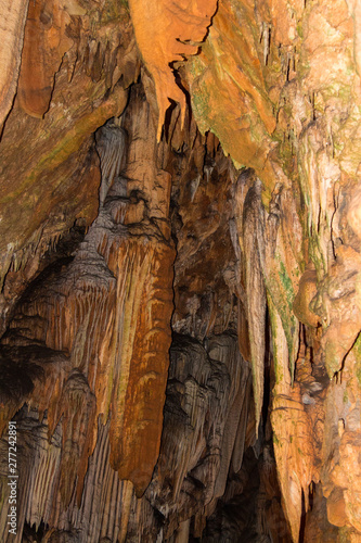 Cave. Stalactites and stalagmites. Amazing places on the planet. Excursions in the journey