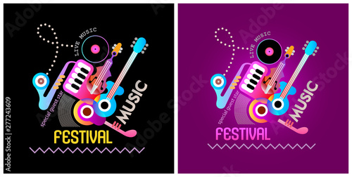Door stickers Abstract Art Music Festival Banner Designs