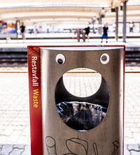 Surprised Trash Can With Googly Eyes.