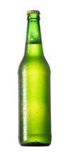 Single Green Bottle Of Beer With Condensation Drops Isolated On White Background