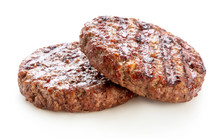 Two Piece Of Grilled Ground Beef Meat For Hamburger