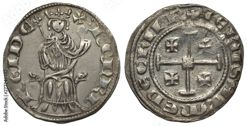 Fotografija  Crusader's State on Cyprus silver coin 1 one grosso circa 1310, ruler Henry II,