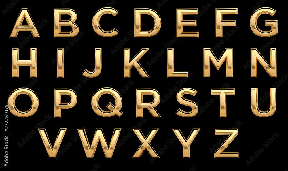 Fototapety, obrazy: Golden font, all letters. Latin, english alphabet. 3d render, gold metal texture, on black background.