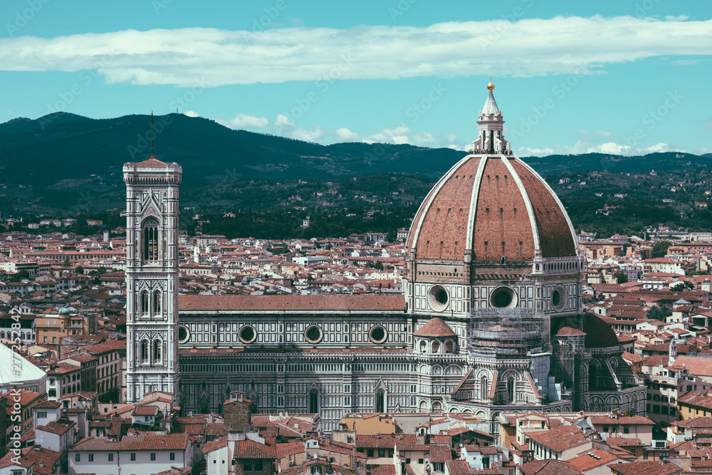 Fototapety, obrazy: Aerial panoramic view of Florence city and Cattedrale di Santa Maria del Fiore