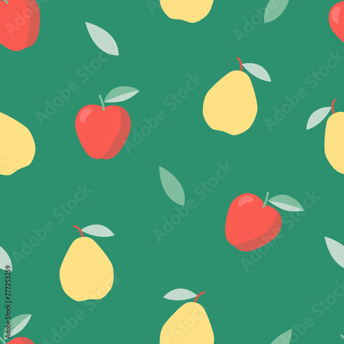 fototapeta na ścianę Summer, sweet food. Vegetable diet. Colorful pattern with apple and pear.