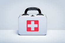 Metal First Aid Kit On Light G...