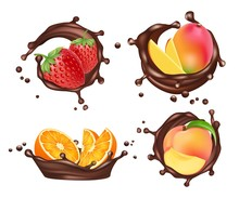 Chocolate Splashes With Fruits And Berries. Vector Realistic Orange And Peach, Mango And Strawberry With Chocolate Milk Splashe Set Isolated On White
