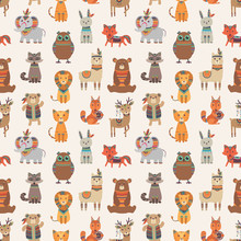 Tribal Animal Seamless Pattern...