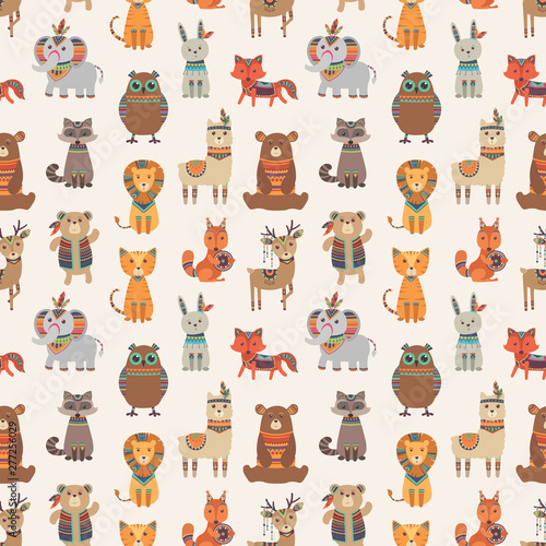 fototapeta na ścianę Tribal animal seamless pattern. Ethnic style animals vector texture. Illustration of indian lama and racoon, rabbit and fox