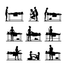 Cartoon Silhouette Black Characters People And Massage Procedure Set. Vector