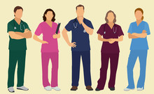 Male And Female Nurses Or Doctors In Scrubs