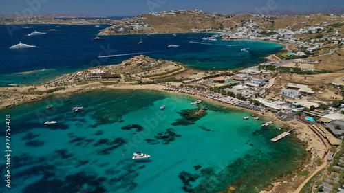 Poster de jardin Europe Méditérranéenne Aerial drone, bird's eye view photo of famous beach of Platy Gialos, Mykonos island, Cyclades, Greece