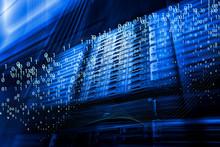 Digital Matrix Code Stream. Abstract Image Light Traces. Visualization Of Hacker Attacks On Information Data Server