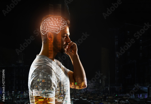Photo  Double exposure of man with glowing brain and city