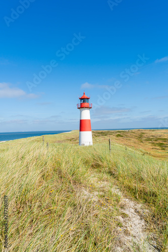 Poster Cote Lighthouse red white on dune. Sylt island – North Germany.