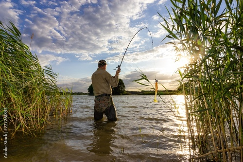 angler catching the fish in the lake during summer day Wallpaper Mural