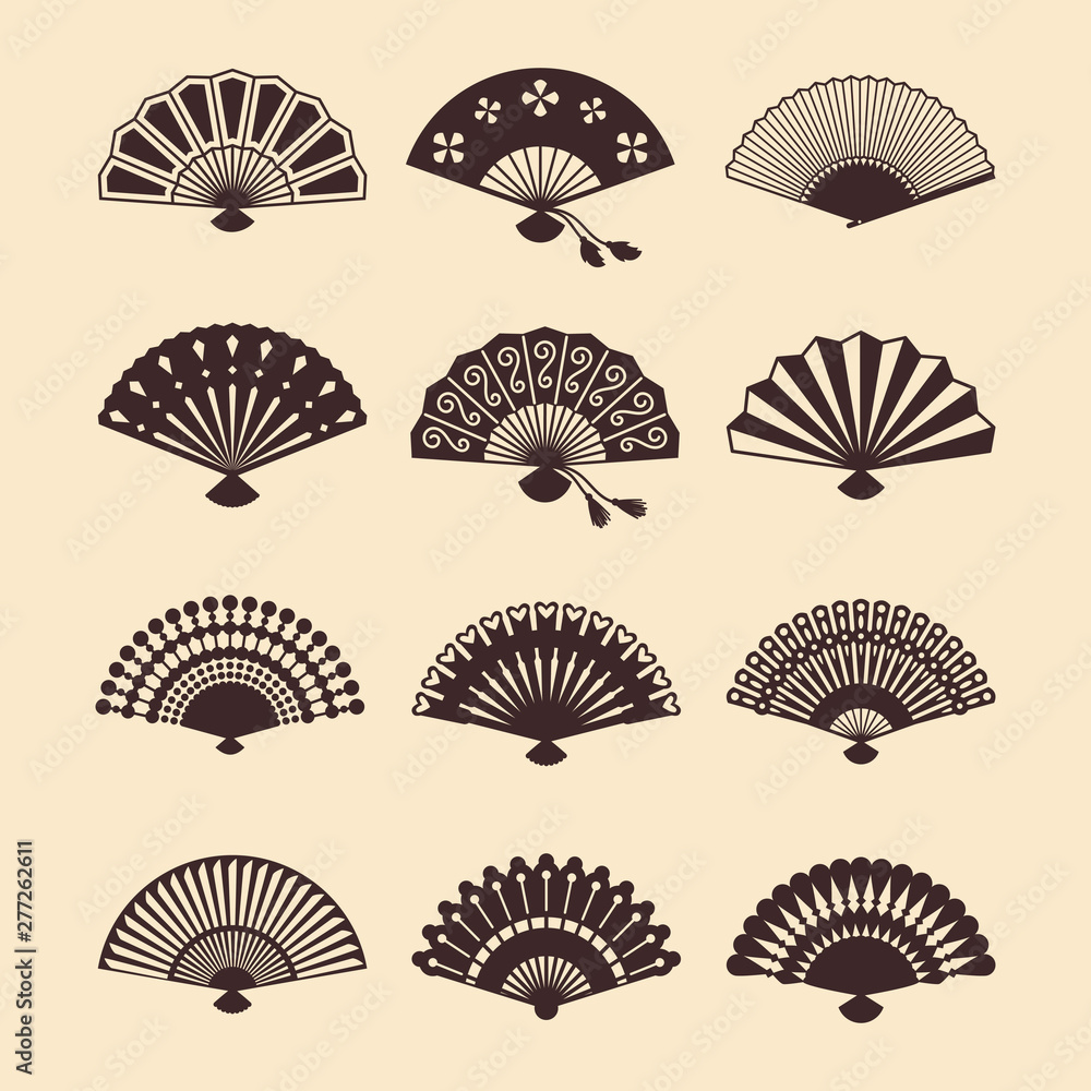 Fototapety, obrazy: Vintage elegant oriental fans of set vector silhouettes. Oriental fan chinese, decoration japanese souvenir illustration