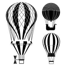 Classic Hot Air Balloons Or Aerostats Vector Set. Illustration Of Air Hot Balloon, Travel Flight Transport