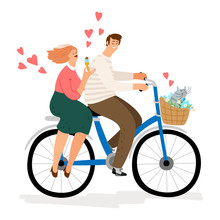 Couple In Love Riding Bicycle ...