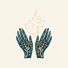 Hand With Tattoo. Crystals, Snakes And Cacti Plants. Eye Of Providence. Moon Goddess Symbol. Astrology, Alchemy, Boho And Magical Symbols. Vector.