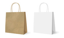 Gift Paper Bags Set Isolated White Background