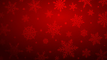 Christmas Background With Various Complex Big And Small Snowflakes In Red Colors