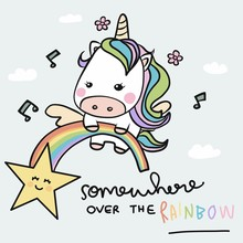 Unicorn And Rainbow, Somewhere Over The Rainbow Cartoon Doodle Style Vector Illustration