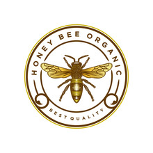 Honey Bee Logo Vintage, Label Product Hand Drawn Style.
