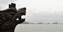 Chinese Dragon Head Wood Carving Tourist Boat In The Halong Bay In Northern Vietnam.