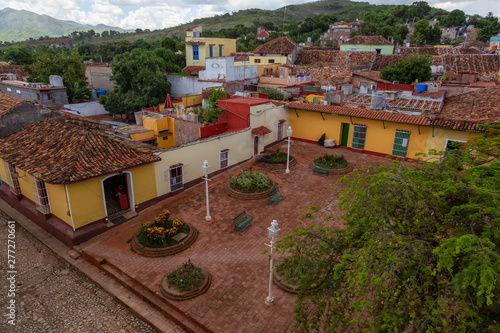 Aerial view of a small touristic Cuban Town during a sunny and cloudy summer day Wallpaper Mural