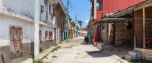 Panoramic View Of A Residential Neighborhood In A Small Cuban Town During A Cloudy And Sunny Day. Taken In Trinidad, Cuba.