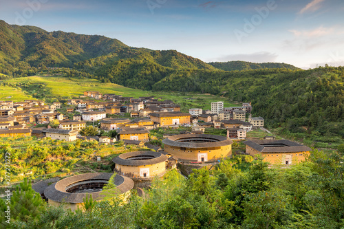 Foto  aerial view of Chuxi Tulou cluster in fujian, china