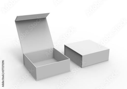 Fényképezés White blank hard cardboard box for branding presentation and mock up template, 3d illustration