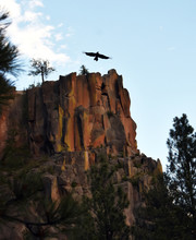 Battleship Rock With Bird Of Prey Blue Sky High-quality Photograph For Magazines, Blogs, Posters, Flyers, Wall Art, Cards, Business Cards, Branding, Articles, And Newspapers.