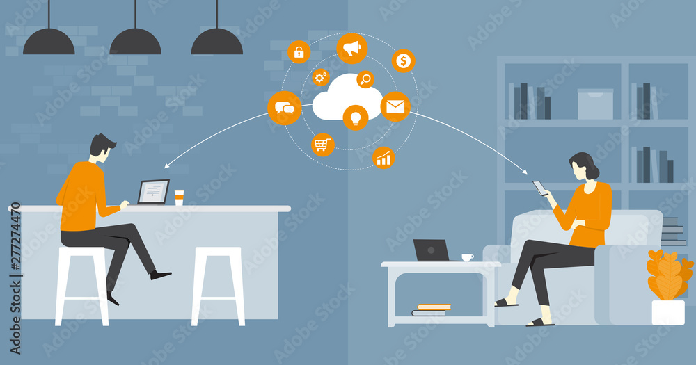 Fototapeta flat vector  business smart working  and working  online  any workplace concept