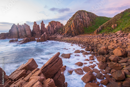 Poster Diepbruine Dramatic landscape of the Pinnacles the breath-taking panoramic views and a series of compelling rock formations in Cape Woolamai, Phillip Island, Australia at sunset
