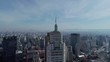 Aerial View of Downtown and Banespa Building in Sao Paulo, Brazil. Flag fluttering on top of Altino Arantes Building.