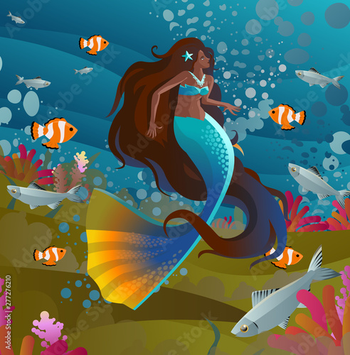 Fotobehang Zeemeermin black latina happy cute beautiful mermaid