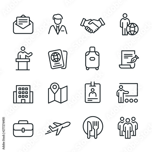 Business Trip - Line Icons Fototapete