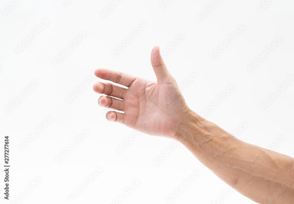 Fototapety, obrazy: Man hand arm on white background