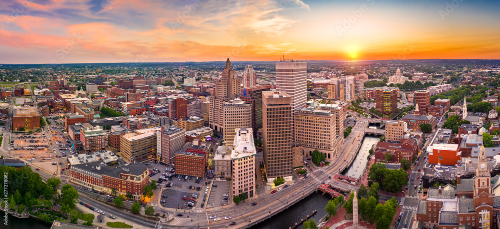 Fototapety, obrazy: Aerial panorama of Providence skyline at sunset. Providence is the capital city of the U.S. state of Rhode Island. Founded in 1636 is one of the oldest cities in USA.