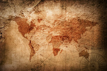 Retro Style World Map Texture Background