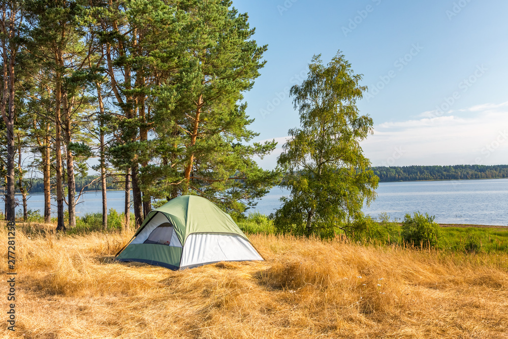 Fototapety, obrazy: The Camping Tent near the forest lake in Karelia