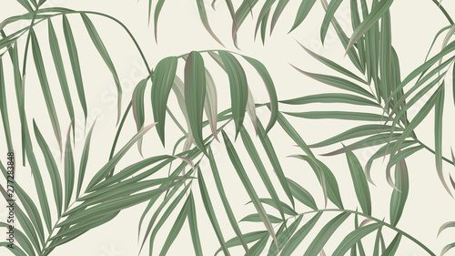 Floral seamless pattern, green bamboo palm leaves on light brown background, pastel vintage theme
