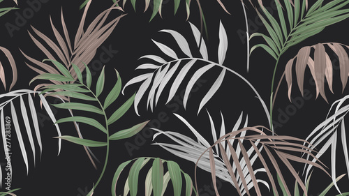 Floral seamless pattern, green, brown and white bamboo palm leaves on dark gray background, pastel vintage theme