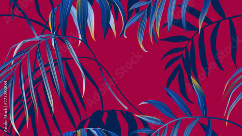 Floral seamless pattern, blue bamboo palm leaves on red background, pastel vintage theme