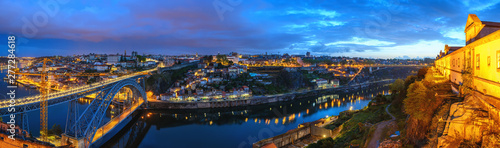 Porto Portugal night panorama city skyline at Porto Ribeira with Douro River and Dom Luis I Bridge - 277284618