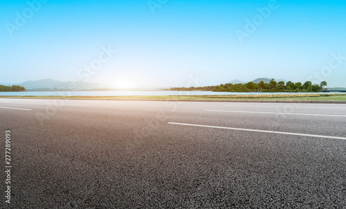 Spoed Fotobehang Zalm Road Pavement and Outdoor Natural Landscape..
